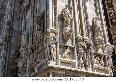 Exterior detail of the Milan Cathedral (Duomo di Milano) in Milan, Italy. Milan Duomo is the largest church in Italy and the fifth largest in the world.