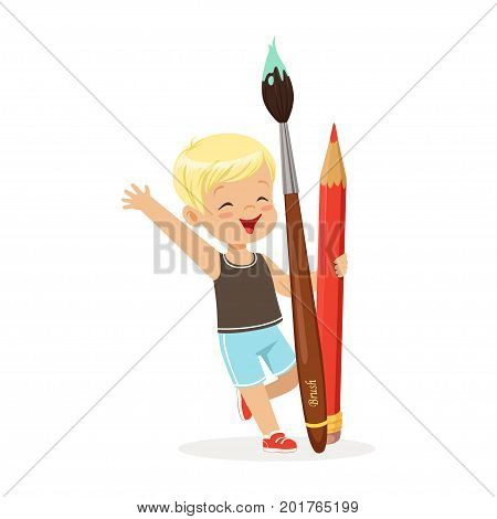 Cute blonde little boy holding giant red pencil and paintbrush cartoon vector Illustration on a white background