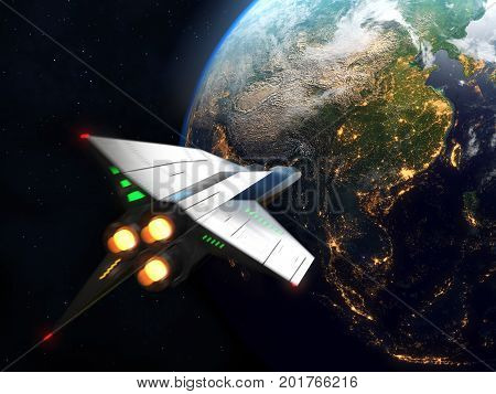 Spaceship arrives to Earth. 3D concept for futuristic interstellar deep space travel for sci-fi backgrounds. Elements of this image furnished by NASA.