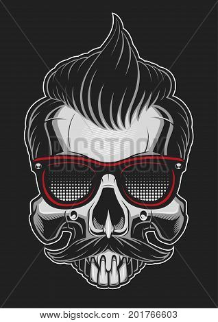 Hipster skull with glass hair and mustache on dark background.