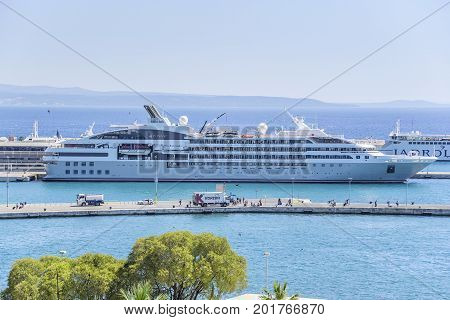 SPLIT, CROATIA - JULY 12, 2017: Cruise ship in the port of Split in Croatia.