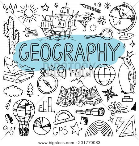 Geography hand drawn doodles. Vector back to school illustration on white background.