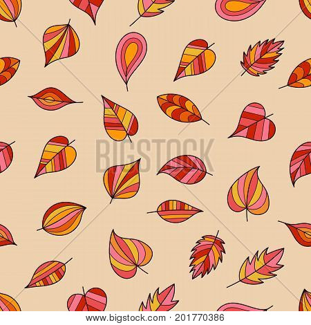 Seamless Pattern of Bright Autumn Leaves on Beige Backdrop. Continued Background of Falling Leaves for Cloth Fabric Textile Tissue.