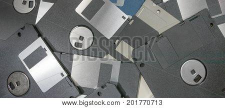 Floppy Disks magnetic computer data storage. Retro data storage.