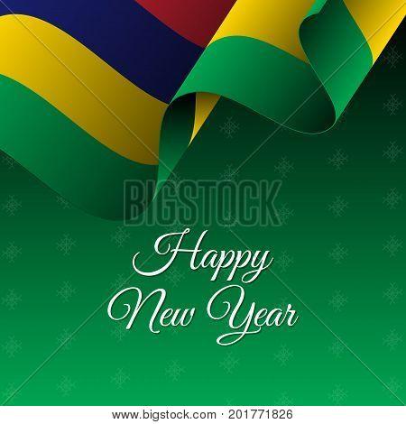Happy New Year banner. Mauritius waving flag. Snowflake background. Waving flag. Vector illustration.