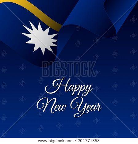 Happy New Year banner. Nauru waving flag. Snowflakes background. Waving flag. Vector illustration.