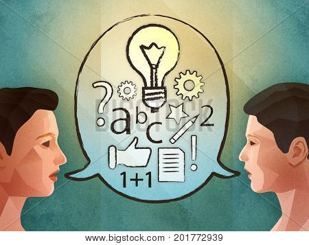 Two people brainstorming and finding new ideas. Digital illustration.
