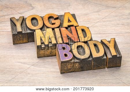 yoga, mind, body word abstract in  letterpress wood type printing blocks
