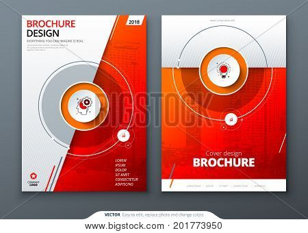 Cover set. Red template for brochure, banner, plackard, poster, report, catalog, magazine, flyer etc. Modern circle shape abstract background. Creative brochure vector concept