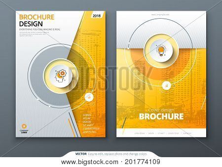 Cover set. Yellow template for brochure, banner, plackard, poster, report, catalog, magazine, flyer etc. Modern circle shape abstract background. Creative brochure vector concept