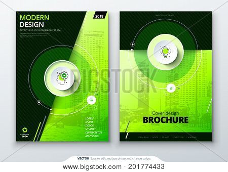 Cover set. Green template for brochure, banner, plackard, poster, report, catalog, magazine, flyer etc. Modern circle shape abstract background. Creative brochure vector concept