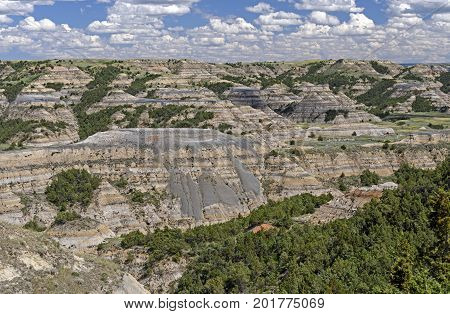 Looking Down into a Badlands Valley in Theodore Roosevelt National Park in North Dakota