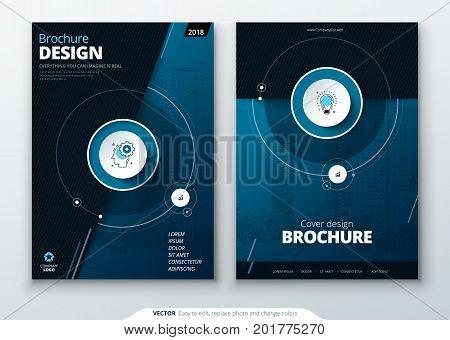 Cover set. Dark Blue template for brochure, banner, plackard, poster, report, catalog, magazine, flyer etc. Modern circle shape abstract background. Creative brochure vector concept