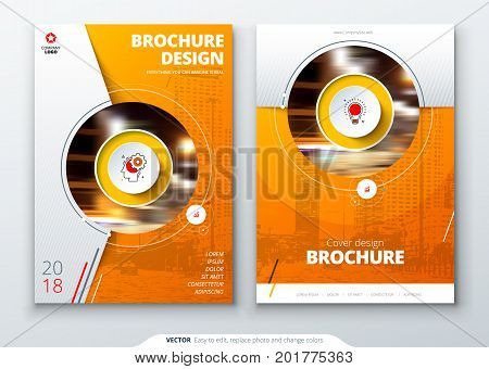 Cover set. Orange template for brochure, banner, plackard, poster, report, catalog, magazine, flyer etc. Modern circle shape abstract background. Creative brochure vector concept