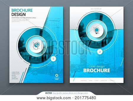 Cover set. Blue template for brochure, banner, plackard, poster, report, catalog, magazine, flyer etc. Modern circle shape abstract background. Creative brochure vector concept
