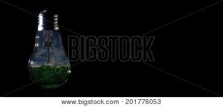 Blue Dark Night Inside Of Light Bulb On Dark Background