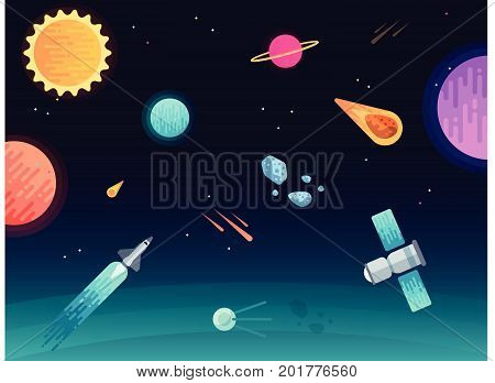 blue space background with rock and stars