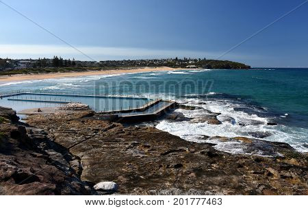 Outdoor swimming pool at Curl Curl beach (Sydney NSW Australia)