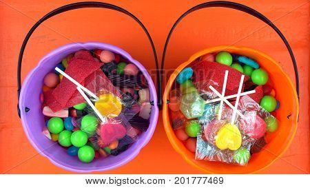 Halloween Trick Or Treat Candy Overhead Jack-o-lantern Buckets