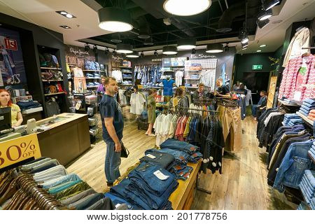 SAINT PETERSBURG, RUSSIA - CIRCA AUGUST, 2017: inside Jeans Symphony store at Galeria shopping center.