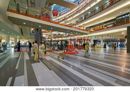 SAINT PETERSBURG, RUSSIA - CIRCA AUGUST, 2017: inside a shopping center in Saint Petersburg. Galeria is major shopping and entertainment center is located in downtown of St. Petersburg