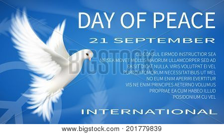 International Day of Peace White dove vector illustration