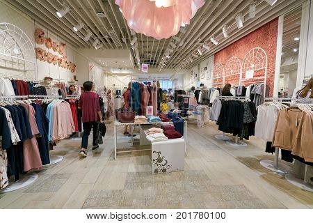 SAINT PETERSBURG, RUSSIA - CIRCA AUGUST, 2017: inside Zarina store at Galeria shopping center. Galeria is major shopping and entertainment center is located in downtown of St. Petersburg