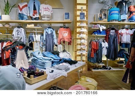 SAINT PETERSBURG, RUSSIA - CIRCA AUGUST, 2017: inside Pull&Bear store at Galeria shopping center. Pull&Bear is a Spanish clothing and accessories retailer