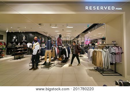 SAINT PETERSBURG, RUSSIA - CIRCA AUGUST, 2017: inside Reserved store at Galeria shopping center. Reserved is a Polish clothing store chain.