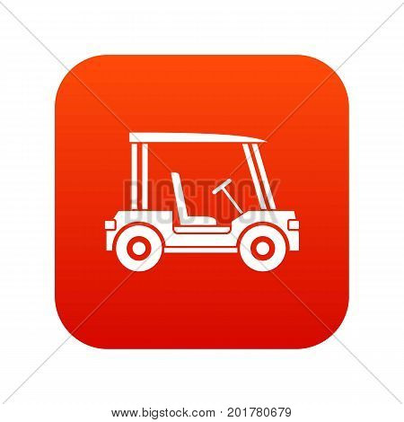 Golf club vehicle icon digital red for any design isolated on white vector illustration