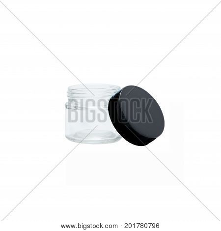 Prescription medication container in glass with black cap over a pure r255 g255 b255 white background.