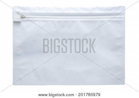 White zippered pharmaceutical transport envelope made of plastic and photographed over a pure white r255 g255 b255 background.