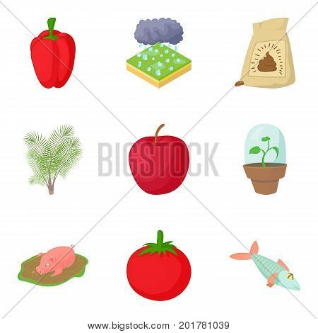 Peasant farming icons set. Cartoon set of 9 peasant farming vector icons for web isolated on white background