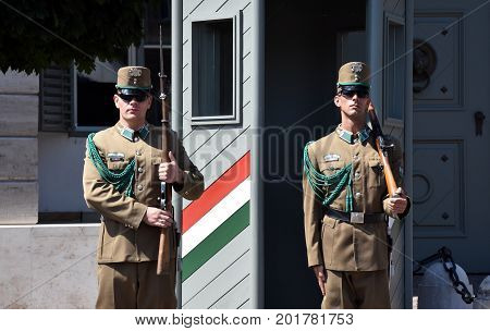 Budapest Hungary - Jul 17 2017. Changing of the Guards by the Hungarian Presidential Palace in the Buda Castle District in Budapest. (National Home Defense Ceremonial Band)