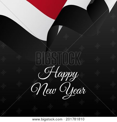 Happy New Year banner. Yemen waving flag. Snowflakes background. Vector illustration.