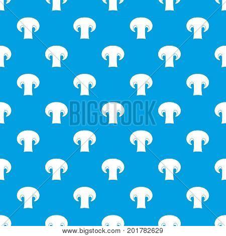 Champignon mushroom pattern repeat seamless in blue color for any design. Vector geometric illustration