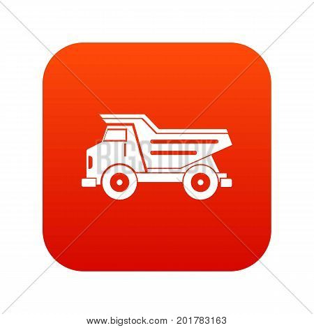 Dump truck icon digital red for any design isolated on white vector illustration