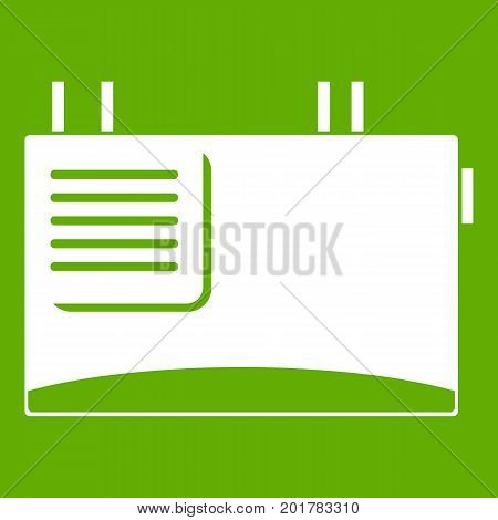 Wall router icon white isolated on green background. Vector illustration