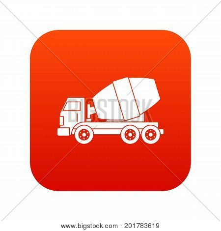 Truck concrete mixer icon digital red for any design isolated on white vector illustration