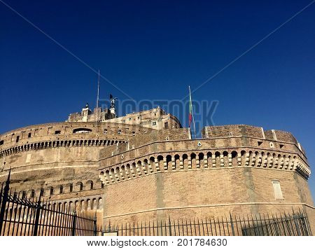 Castel Sant'Angello fortress walls in Rome, Italy