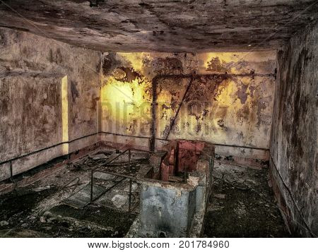 dungeon abandoned terrible with secret. supernatural atmosphere on objects poster