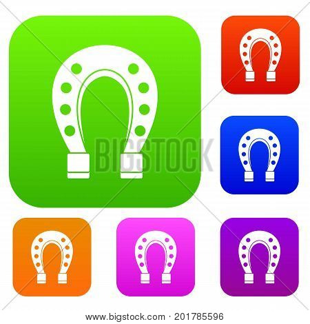 Horse shoe set icon in different colors isolated vector illustration. Premium collection