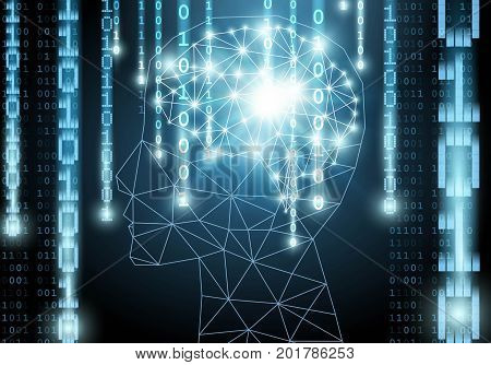 Artificial intelligence brain with falling number Vector