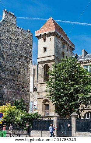 Paris France - August 13 2016: The Tour Jean sans Peur -- Tower of John the Fearless -- is the last vestige of the Hotel de Bourgogne the residence first of the Counts of Artois and then the Dukes of Burgundy.