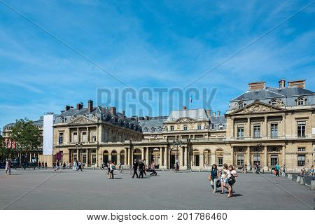 Paris France - August 13 2016: Established in 1799 by Napoleon Bonaparte as a successor to the King's Council The Conseil d'Etat is located in the Palais-Royal and is primarily made up of top-level legal officers.