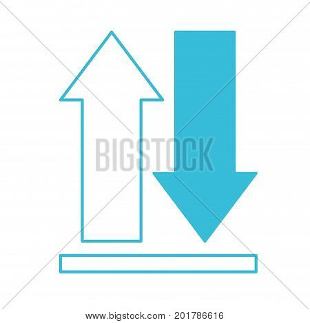 blue color silhouette of upload and download icons and progress bar vector illustration