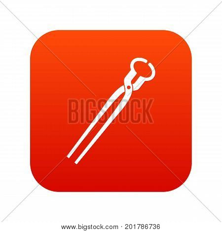 Vintage blacksmith pincers icon digital red for any design isolated on white vector illustration