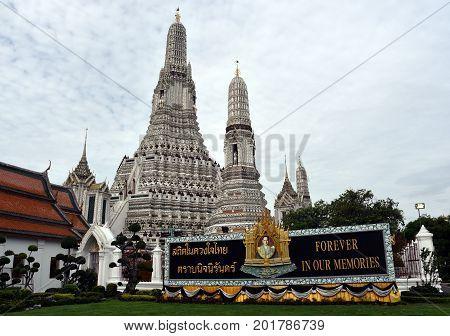 Bangkok Thailand - Aug 4 2017. Memorial Portrait of Thai King Bhumibol Adulyadej at Wat Arun temple. Thailand's King Bhumibol Adulyadej has died aged 88 ending seven decades on the throne.