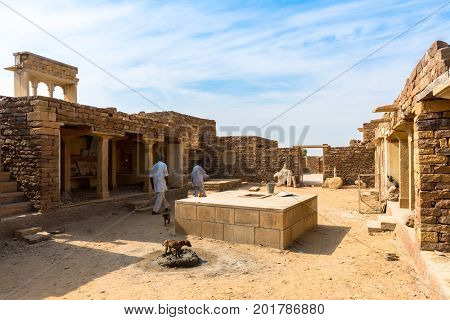 JAISALMER RAJASTHAN INDIA - MARCH 07 2016: Horizontal picture inside in a old castle in Thar Desert located close to Jaisalmer the Golden City in India.
