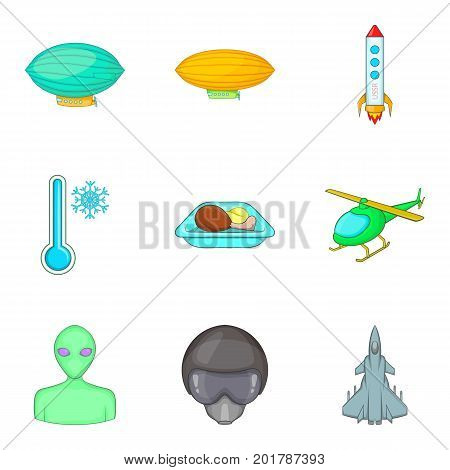 Arrival from space icons set. Cartoon set of 9 arrival from space vector icons for web isolated on white background